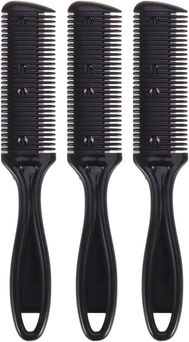 Frcolor Peine del cortador de pelo, peine del corte del pelo del lado doble Peine con cuchilla del acero inoxidable, paquete de 3 (negro)