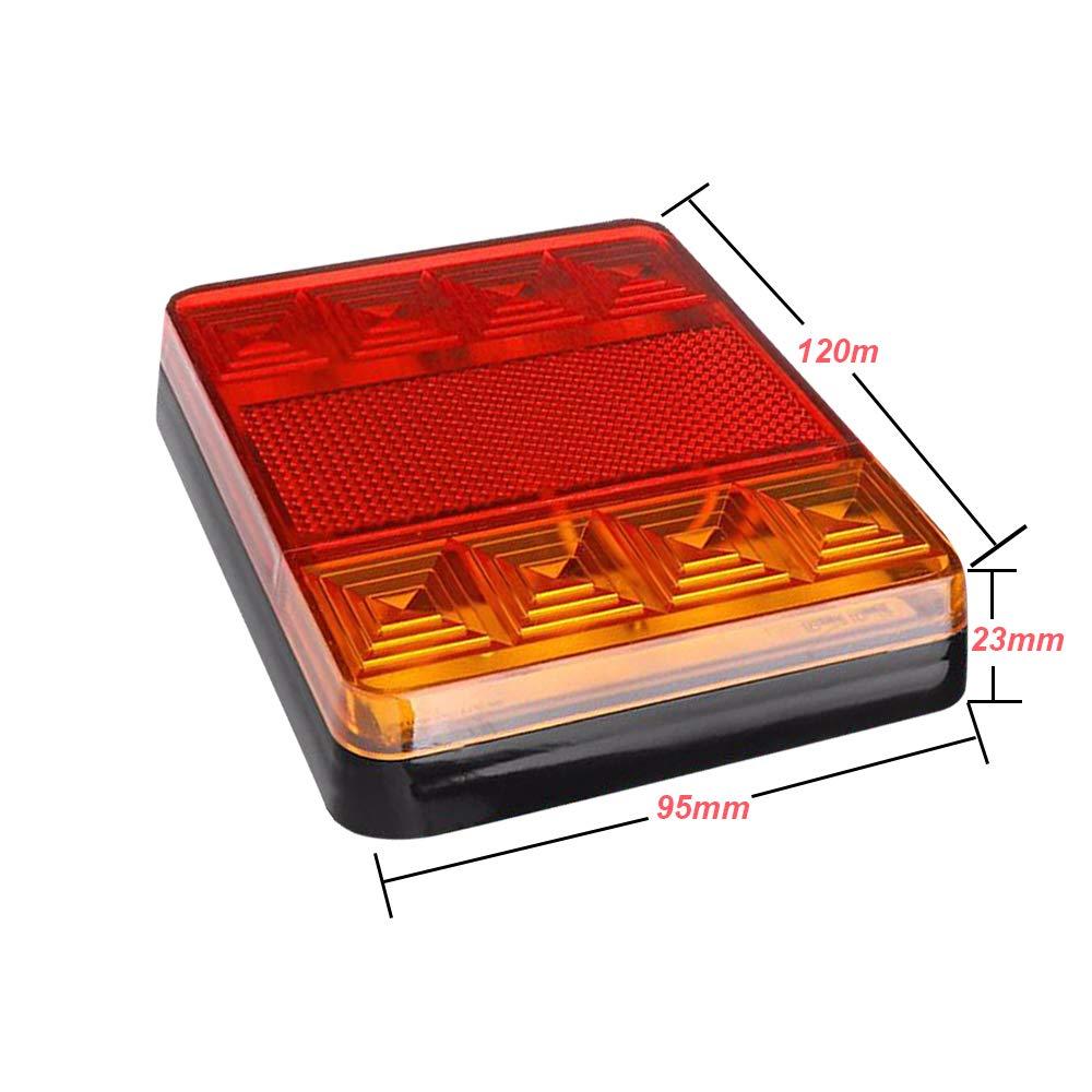 8 chip led AOHEWEI 2 pezz Luci Fanali Posteriori per Rimorchio LED/12V Lampada del Freno per Camion Indicatore Impermeabile per Rimorchio Camion Caravan Furgone o Barca