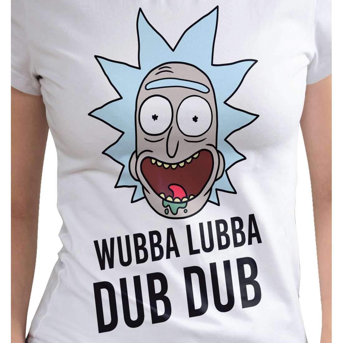 Rick and morty t shirt femme wubba lubba dub dub coton blanc amazon fr vêtements et accessoires