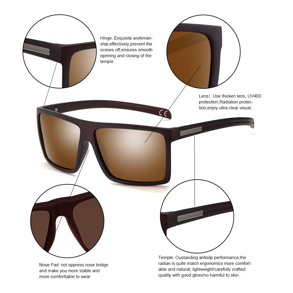 d476c31d89 Amazon.com  2020Ventiventi Classic Polarized Sunglasses for Men Brown Lens  Square Frames 51mm UV400 with Sun Glasses Case for Driving PL273C03  Sports    ...
