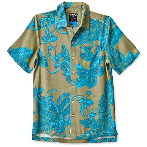 KAVU Men's Keep It Classy Button Down Shirts, Moss Palms, Medium