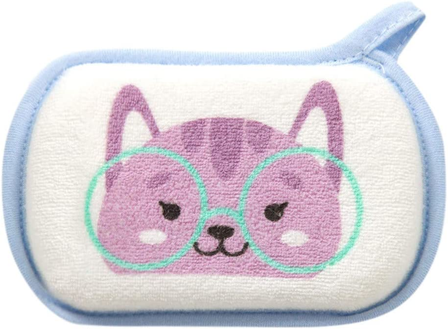 ❤️ Mealeaf ❤️ Newborn Baby Kids Shower Bath Sponge Cartoon Body Wash Towel Accessories(Purple,)