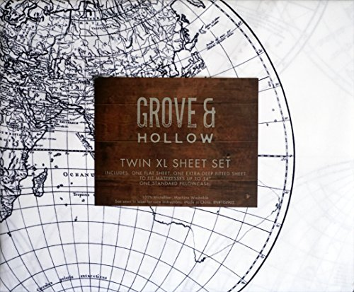 Classic Historic Early Explorers Global Map Pattern, Grove & Hollow 3 Piece Twin XL Size Microfiber Sheet Set Extra Deep Pockets Black on White