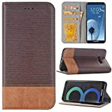 Sammid Galaxy S8 Plus Case 6.2 inch, PU Leather Stand Case Cover with Built-in ID Card Slots for Samsung Galaxy S8 Plus - Dark Brown