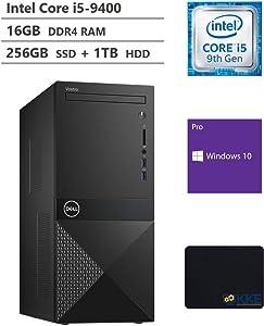Dell Vostro 3000 Tower Business Desktop, Intel Core i5-9400 Six-Core Processor up to 4.10GHz, 16GB RAM, 256GB PCIe NVMe M.2 SSD + 1TB HDD, HDMI, VGA, DVD-RW, Windows 10 Pro, Black, KKE Mousepad Bundle