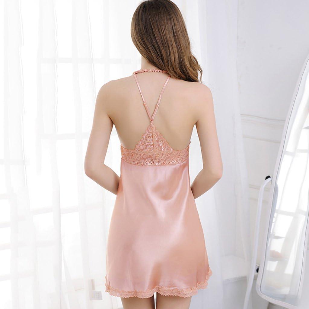 Pijamas de Verano Mujeres arnés camisón Falda de Seda de Hielo ...