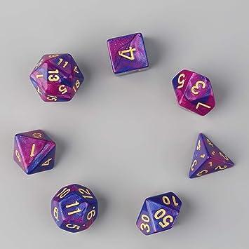 7 piezas Dados de doble color D4 D6 D8 D10 D12 D20 Juego de juego de varios lados Juego de roles Dados de colores multifacéticos Dados funcionales únicos (color: púrpura y azul):