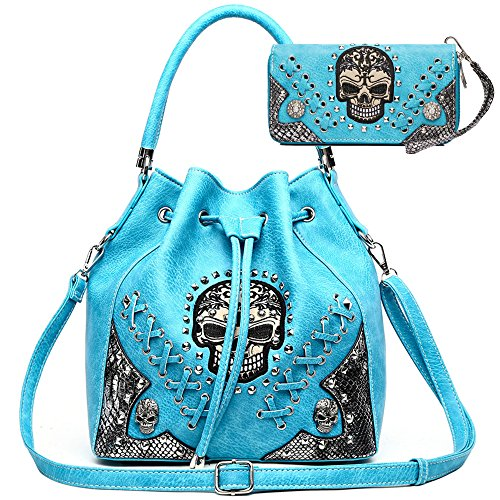 Sugar Skull Punk Art Rivet Studded Concealed Carry Purse Women Handbag Fashion Shoulder Bag Wallet Set (Turquoise Set)