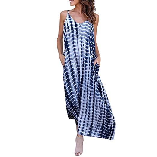 9921a9a781 Minisoya Women Striped Long Maxi Dress Tie-Dye Ombre Casual Loose Sling  Dress Backless Evening