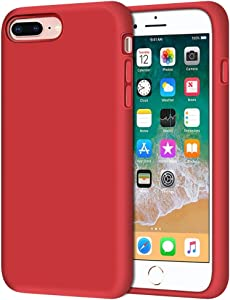 "iPhone 8 Plus Case, iPhone 7 Plus Case, Anuck Soft Silicone Gel Rubber Bumper Case Microfiber Lining Hard Shell Shockproof Full-Body Protective Case Cover for iPhone 7 Plus /8 Plus 5.5"" - Red"