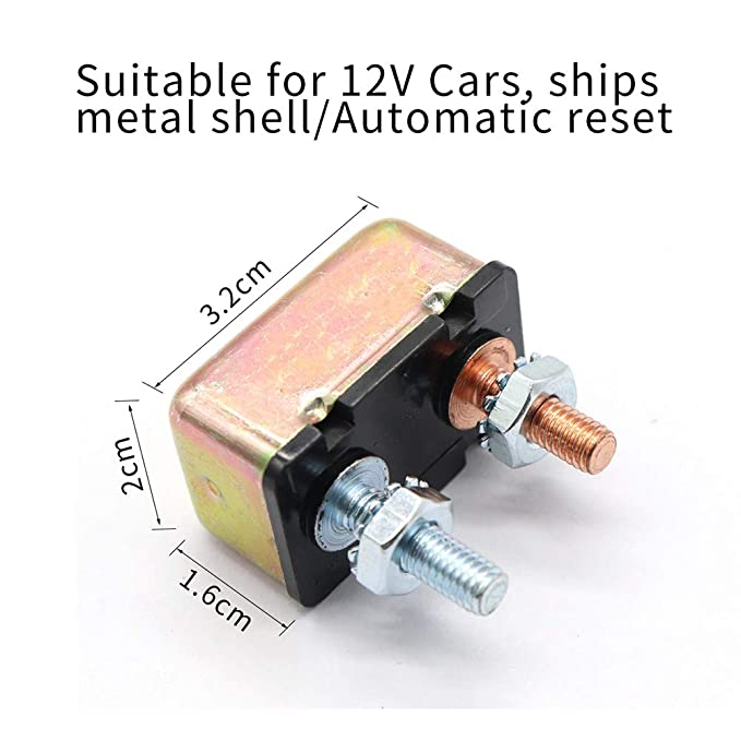 MonkeyJack Automotive RV Boat 50 AMP Metal Auto-Reset Circuit Breaker 50A 12V
