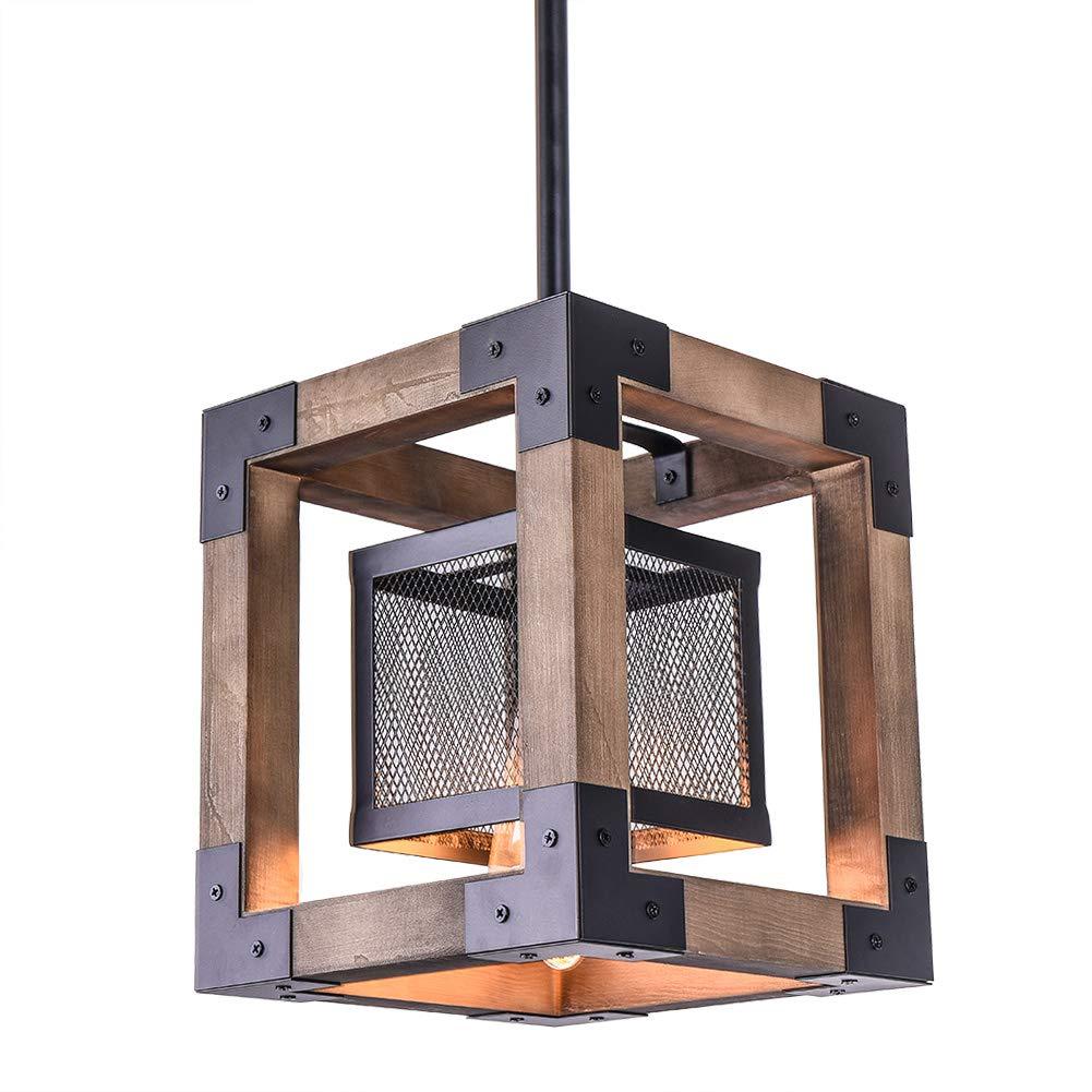 Metal and Wood Chandelier Light Cube Pendant Lamp Fixtures Retro Rustic Loft Ceiling Light Home Decor