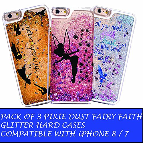 DECO FAIRY Compatible with iPhone 8 / 7, Gold Blue Sand Glitter Blue Fairy Faith Never Grow Up Pixie Dust Neverland Series PVC Hard Cover Case - Set of three (I Phone 6 Peter Pan Case)