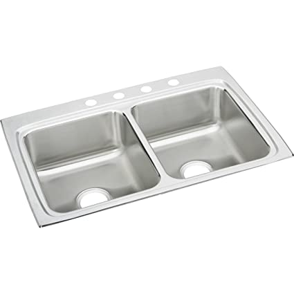 Merveilleux Elkay Lustertone LR33224 Equal Double Bowl Top Mount Stainless Steel  Kitchen Sink