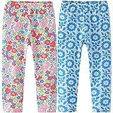 REWANGOING 2 Pack of Little Girls Kids Cartoon Flower Print Cotton Leggings Tights Slim Pants 2T