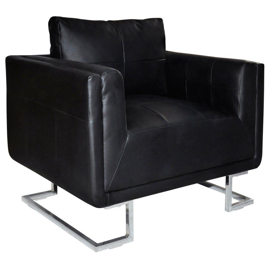 Anself Sessel Polstersessel Wohnzimmersessel Loungesessel Leder Sessel mit Chromfüßen 2 Farbe Optional