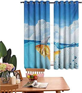 "Mozenou Shark Simple Curtains Cute Goldfish with Shark Fin on Top of The Water Fake Comical Humorous Nature Image Darkening, Noise Reducing 42""x63"" Blue Orange"