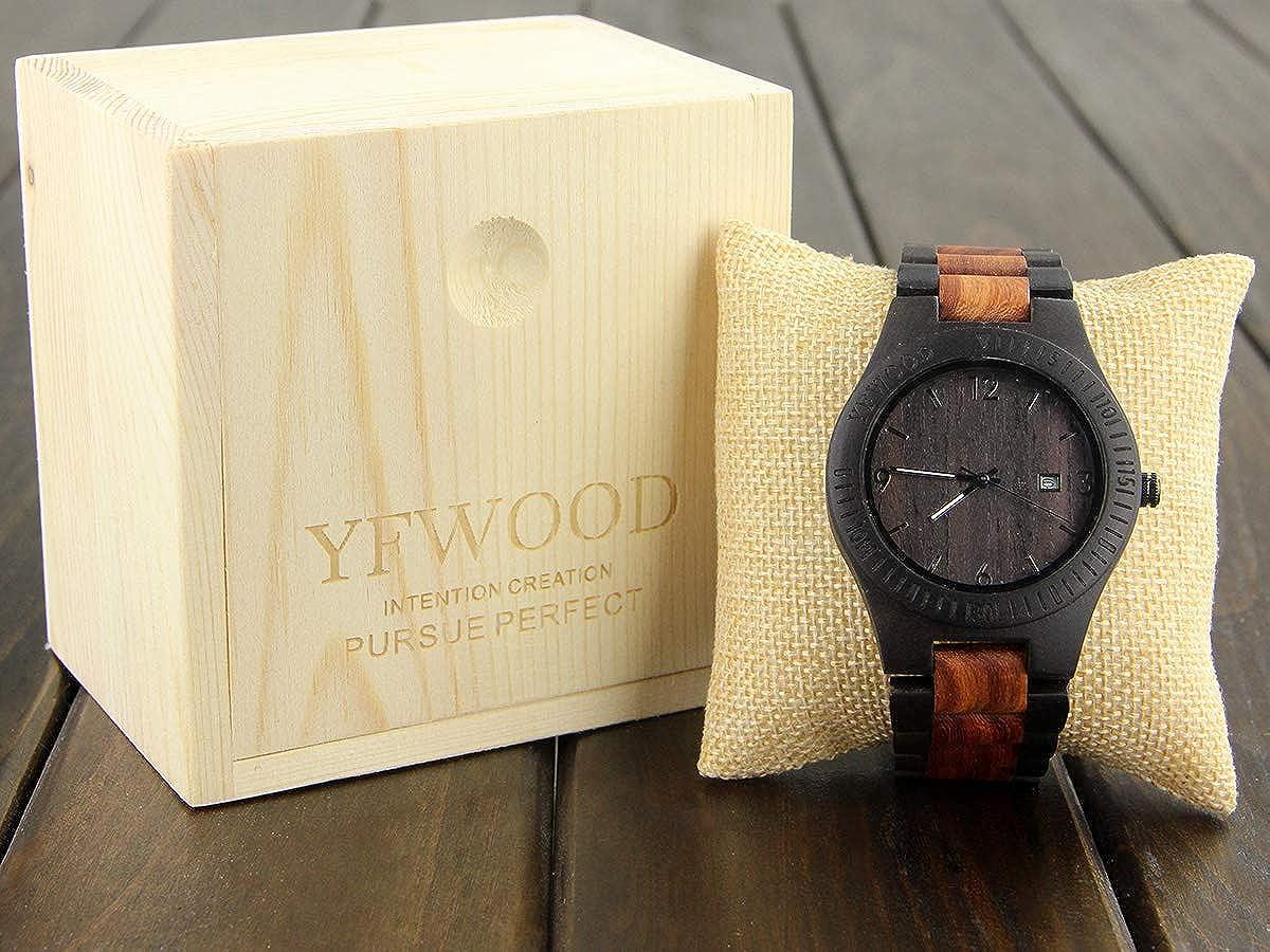 4b00ec344b Amazon | YFWOOD 木製腕時計 メンズに圧倒的な人気腕時計 優しい木の温もりを生かした腕時計 カレンダー付き ウッド時計 話題性 男性用  人気 …