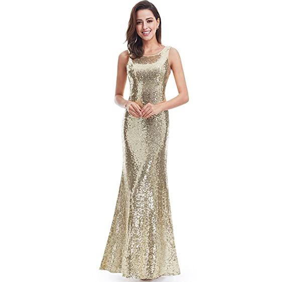 VGBRIDAL Sequined Bridesmaid Dresses Long Floor Sheath Evening Gowns Open Back Sexy Prom Dress (2