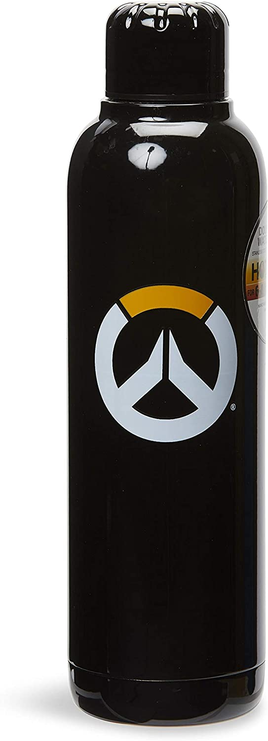 JUST FUNKY Overwatch Logo Black Double Wall Stainless Steel Water Bottle | Official Overwatch Collectible Water Bottle | Holds 17 Ounces