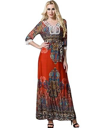 Romacci Women Boho Maxi Dress Casual Irregular Hem Dresses Vintage Loose  Half Sleeves Dress with Belt 7381efe0dcec