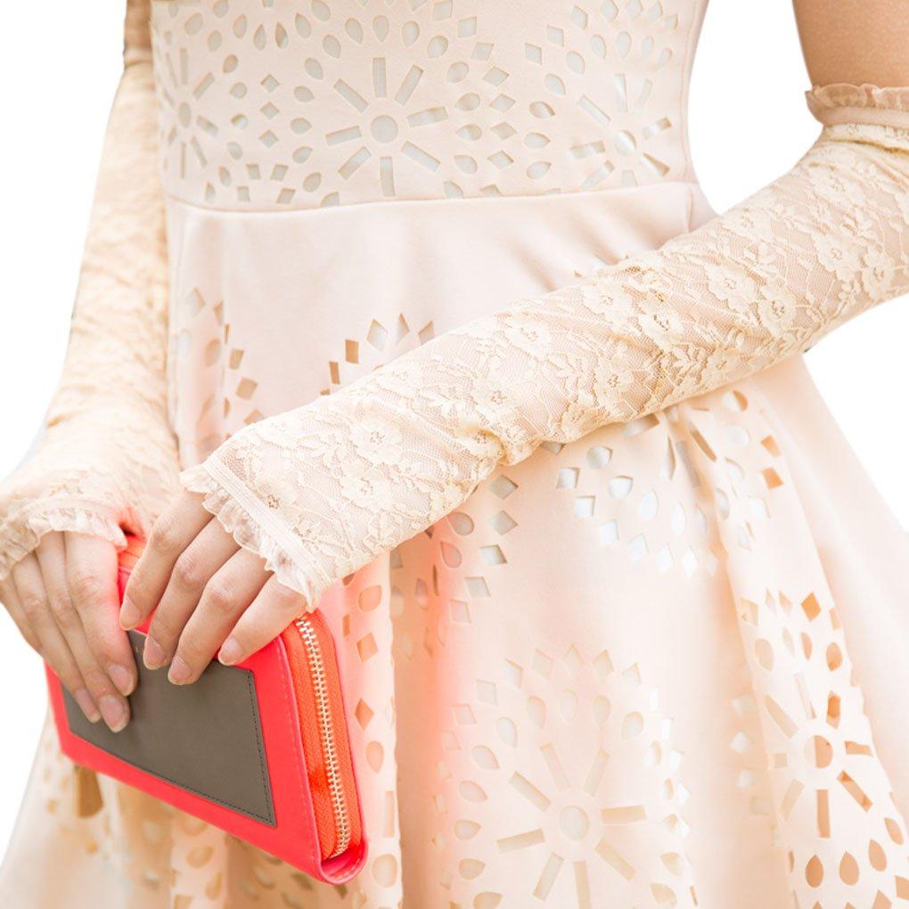 FakeFace® Premium Fingerlose Spitze Brauthandschuhe Hochzeithandschuhe in Verschiedene Farbe BXT