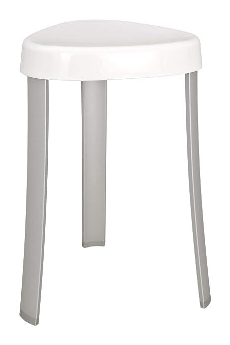 WENKO Tabouret de salle de bain Corrente - coffre à linge, Plastique, 37 x  45 x 37 cm, Blanc