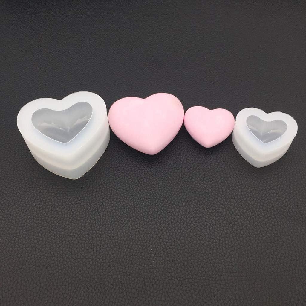 Kcibyvx Gie/ßformen Silikonform Spiegel Herzform 3D Glatt Handwerk DIY Schmuck Handgemachte Kuchen Fondant Epoxidharz Formen Dekoration Schokolade Werkzeuge