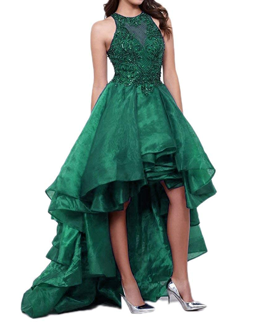 Dark Green PearlBridal Women's 2018 Appliques High Low Wedding Dresses Short Organza Prom Dresses Beaded