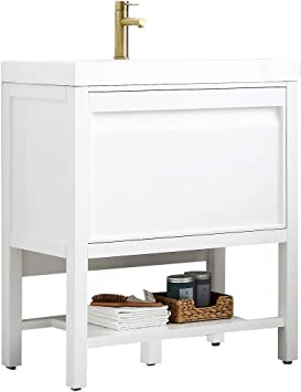 Amazon Com Waterproof Freestanding 30 Single Bathroom Vanity With Acrylic Sink 021 30 01 A 30 Inch Acrylic Matte White Kitchen Dining