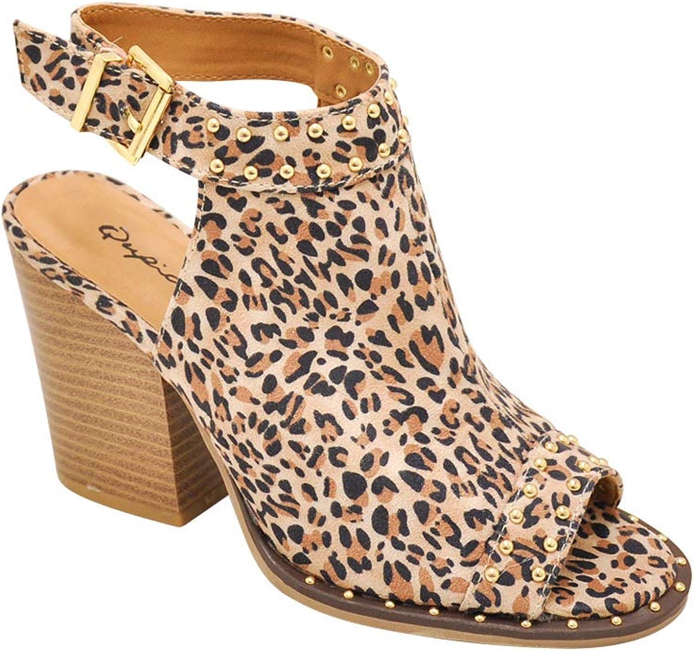 Women/'s Shoes Qupid BARNES 230CX Studded Open Toe Slingback Heels KHAKI *New*