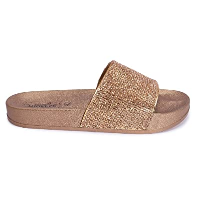 575b53bdad4071 Mizzshuzz New Womens Ladies Girls Sparkly Diamante Comfy Sliders Summer  Sandals 10-2  Amazon.co.uk  Shoes   Bags