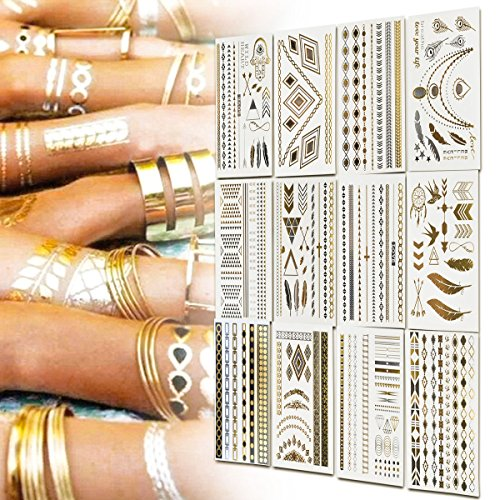 Inifty Temporary Tattoos Body Art Stickers Waterproof Shiny Jewelry High Gloss Shimmer Designs in Gold, Silver, Black & Blue Turquoise (12 Sheets Gold & Silver)