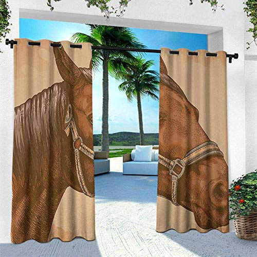 Animal, Outdoor Patio Curtains Waterproof with Grommets,Engraving Illustration of Detailed Hand Drawn Horse Head Retro Style Image, W120 x L84 Inch, Brown and Sand Brown