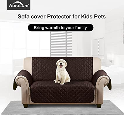Unique Auralum Reversible Quilted Sofa Furniture Protector for Kids Pets Couch Cover Waterproof Anti Slip Cover with Plan - Cool Waterproof sofa Cover for Pets Contemporary