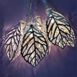 Rope String Lights,Solar String Lights Tree Leaf Metal Ornament Lights Waterproof Fairy Lights for Garden, Wedding, Party, Indoor, Outdoor and Christmas Tree,White