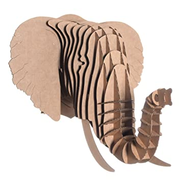 Amazon.com: Cabeza de trofeo de elefante de cartón reciclado ...