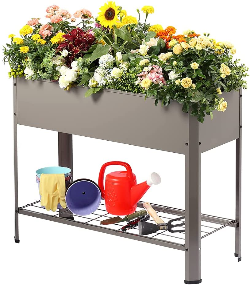 LEMONDA Large Raised Garden Bed,Elevated Galvanized Steel Planter Box with Legs,Standing Planter Container for Outdoor Patio Flower Fruit Herb Vegetable Growing