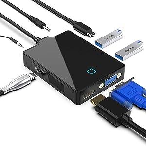 USB C Hub Docking Station, USB C Hub for MacBook Pro/ipad Pro/Type C Laptop and Smartphone with 4K HDMI, 1080P VGA, Dual USB 3.0, USB C Data, Audio Output and 3.5mm DC 5V Jack, Type C to VGA HDMI Dock