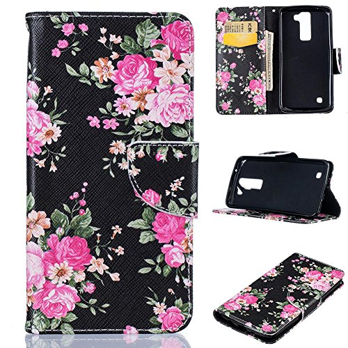 LG K8 Case, LG Escape 3 Case, LG Phoenix 2 Case, Firefish PU Leather Wallet Case [Card Slots] [Kickstand] Magnetic Closure Scratch Proof Case for LG K8/LG Escape 3/LG Phoenix 2 -Flower-A (Phoenix Flower)