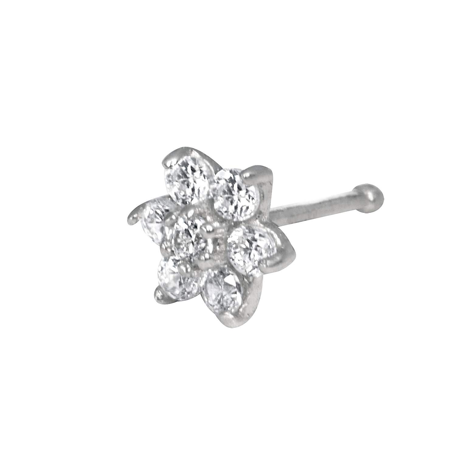 JewelryWeb Solid 14K Yellow or White Gold 4-mm 20 Gauge Cubic Zirconia Flower Nose Stud (White-Gold) by JewelryWeb