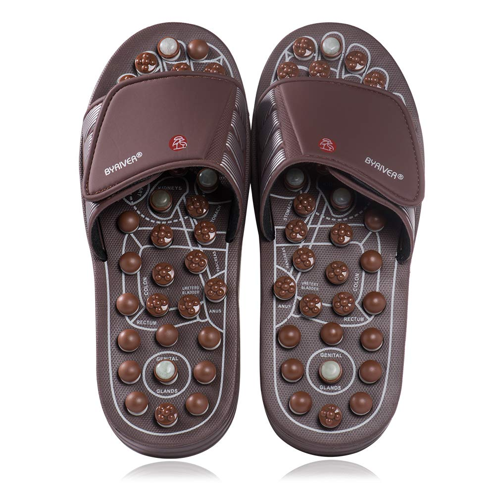 4c3de3cf1 Amazon.com  BYRIVER Therapeutic Acupuncture Massage Flip Flops Slippers  Foot Relaxation Tools Leg Calf Plantar Fasciitis Massager (M)  Health    Personal ...