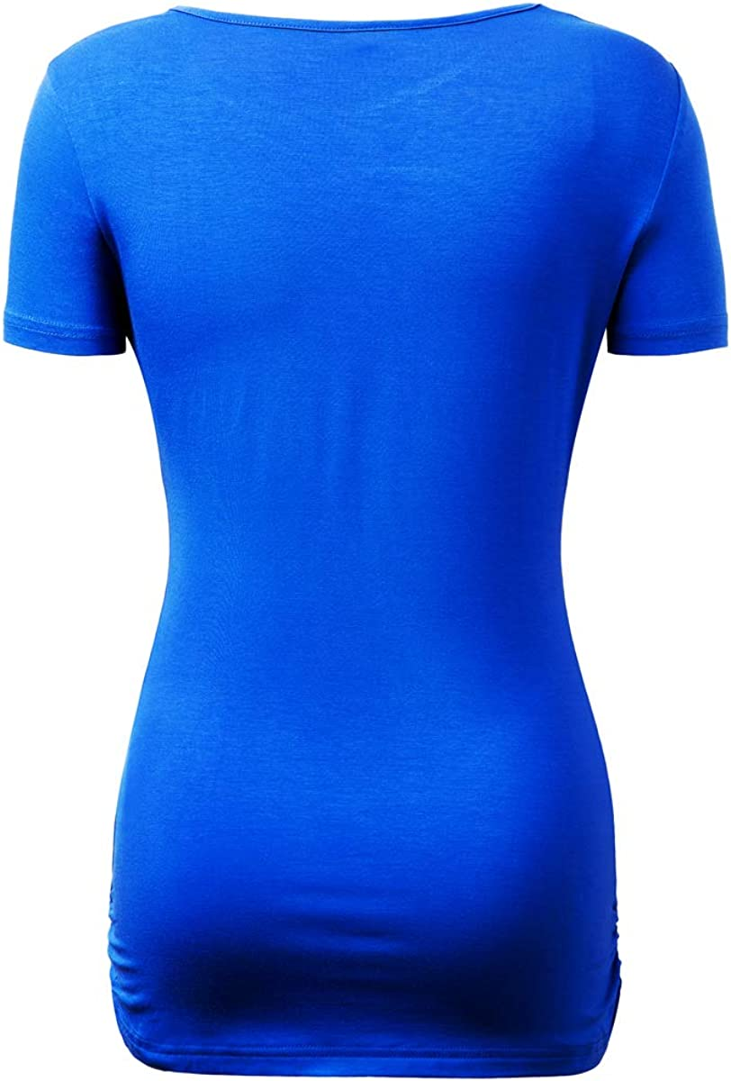 Nadasha Women's Casual Blouses T-Shirts Keyhole Short Sleeve Tops at  Women's Clothing store