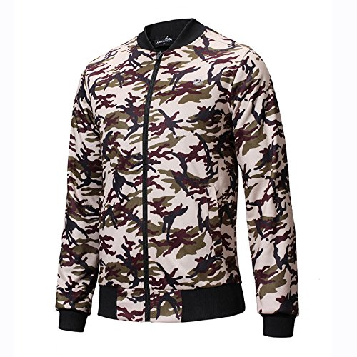 Zipper Camo Coat Bomber SEVENWELL Outerwear Casual Men's XL Jacket Green Jackets Fashion S Camo Printed UOqqwREcWg