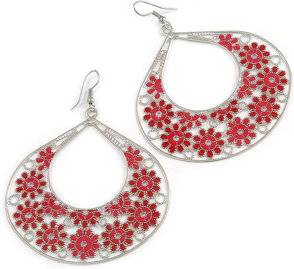 En forma de lágrima grande esmalte rojo pendientes de aro de flores en acabado plata - 8 cm, longitud de la