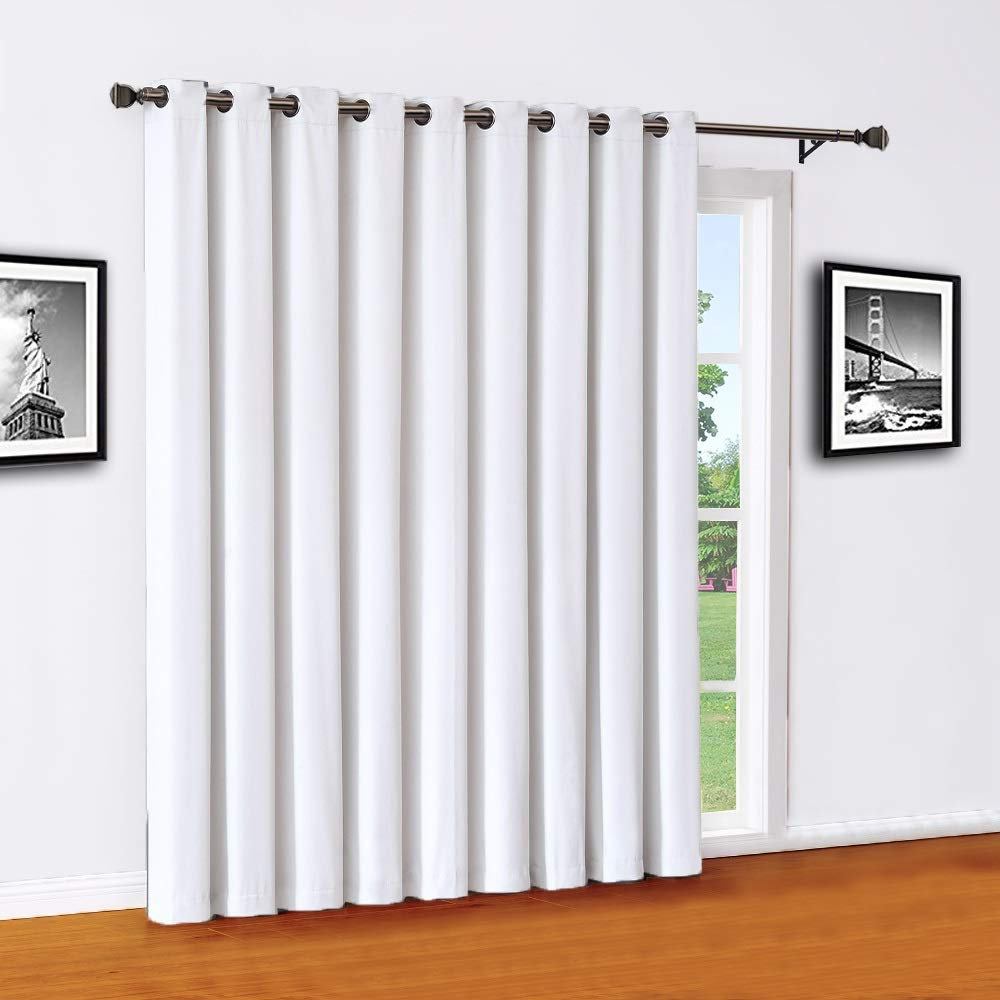 Warm Home Designs Extra Large 110'' x 84'' Panel of White Ivory Color 100% Blackout Insulated Patio Door Curtains. Use As Sliding Door Drape Or As Room Divider. MA Ivory Patio 84