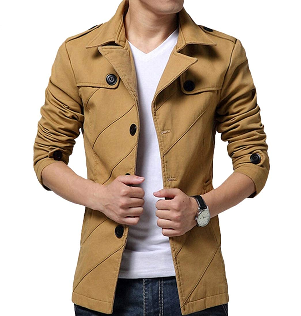 WSPLYSPJY Mens Casual Jacket Cotton Long Sleeve Stand Collar Full Zip Jacket Windbreakers