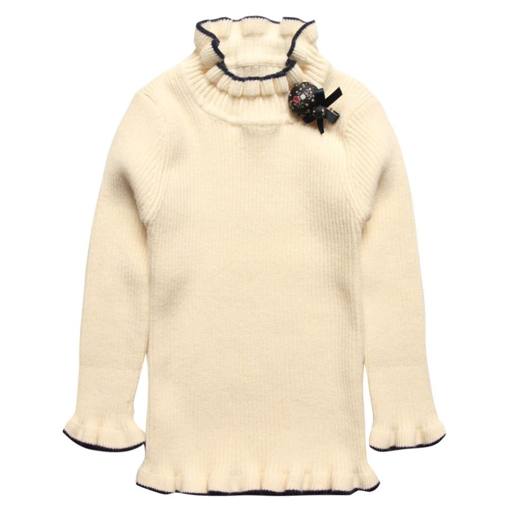 Coodebear Girls' Cashmere Lotus Leaf Collar Bottoming Shirts Pullover Sweater