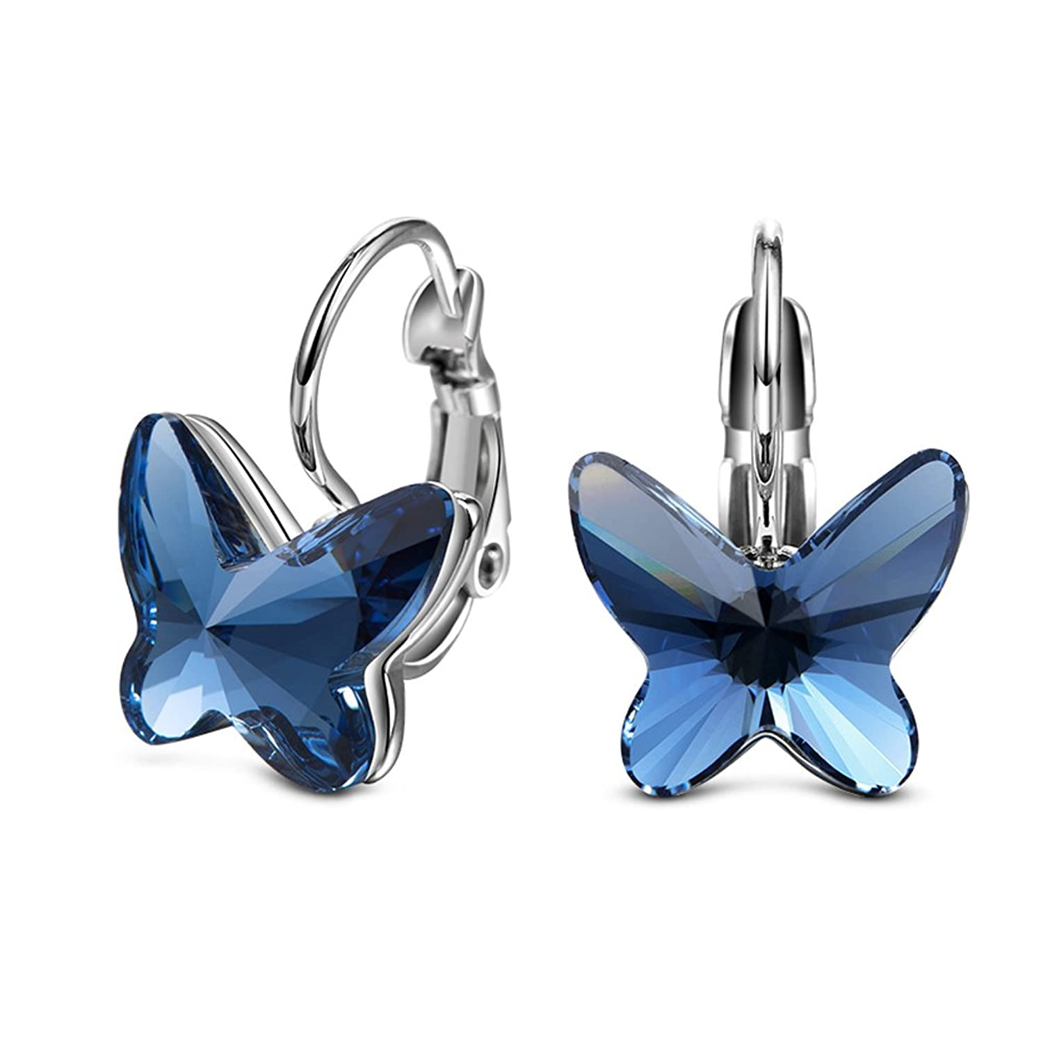 butterfly blue silver earrings in sterling sapphire and opal white created jewelry stud