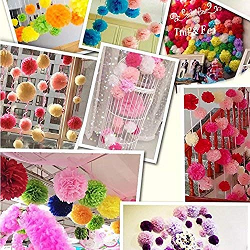 PARLAIM 8118 Paper Flower Tissue Colorful Paper Pom Poms Decorations- 15 Pieces of 8, 10, 14 Inch - Paper Flowers Perfect for Wedding Decor Birthday Celebration Wedding Party and Outdoor Decoration
